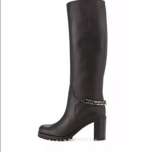 Napoleo Leather 70mm Red Sole Knee Boot w/ Chain